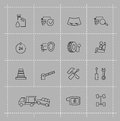 Auto icons set vector black on gray Royalty Free Stock Photography