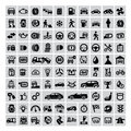 Auto icons vector black set on gray Royalty Free Stock Photo