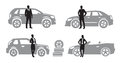 Auto icons vector black set on gray Stock Photo