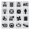 Auto icons vector black set on gray Stock Image