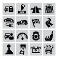 Auto icons vector black set on gray Royalty Free Stock Image
