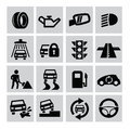 Auto icons vector black set on gray Stock Photos