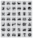 Auto icons vector black set on gray Stock Images