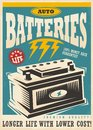 Auto lite batteries vintage ad design