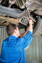 Auto mechanic at car suspension repair work Royalty Free Stock Photo