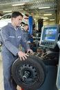 Auto mechanic checking tyre in garage