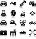 Auto mechanic related icons silhouettes Royalty Free Stock Photography