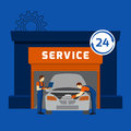 Auto mechanic service center flat banner automobile repair shop and hours garage car maintain abstract vector illustration Royalty Free Stock Photo