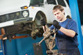 Auto mechanic at work with wrench spanner Stock Photo