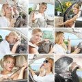 Auto mix photos of nice young woman behind the wheel combined in collage Stock Photos