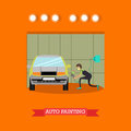 Auto painting services vector illustration in flat style