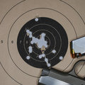 .380 Auto pistol target practice Royalty Free Stock Photo