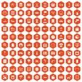 100 auto repair icons hexagon orange