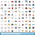 100 auto repair icons set, cartoon style