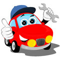 Auto repair the red car in the cap holding a wrench and shows that all is well Stock Images