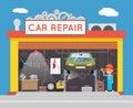 Auto Repair Service Garage Shop Technician Vehicle Fix Flat Design Workshop Concept Template Vector Illustration