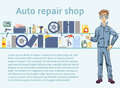 Auto repair shop. Mechanic man holding a wrench. Vector illustration with copy space, template for advertising flyer or