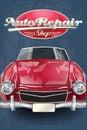 Auto repair shop retro poster