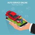 Auto repairing concept. Auto service online. Car repair service center. Tire service flat set with shop car repair