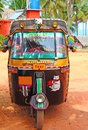 Auto rickshaw south india in labels multicolored with individual color kerala varkala Royalty Free Stock Photography