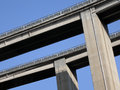 Auto route bridge of autoroute view from below Stock Photography
