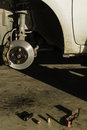 Auto Service, car disc brakes changing Royalty Free Stock Photo