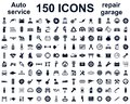 Auto service, car garage 150 isolated icons set - vector