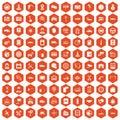 100 auto service center icons hexagon orange