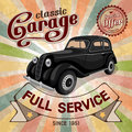 Auto service retro poster grungy style vector design Royalty Free Stock Photography