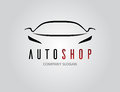 Auto shop car logo design with concept sports vehicle silhouette