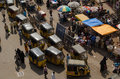 Auto taxis from above hyderabad andhra pradesh india january view of a cluster of or tuktuks driving through the charminar Stock Image