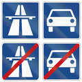 Autobahn and fast traffic highway signs in germany german about beginning end of left right Royalty Free Stock Photo