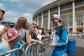 Autograph session russia moscow july leading motofristayler russia alexey kolesnikov at the sports festival moscow city games in Stock Images
