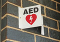 Automated external defibrillator aed sign in a public place at sporting facility Royalty Free Stock Images