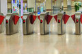 Automatic access control ticket barriers in subway station. View