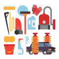 Automatic and hand carwash facilities. Cleaning equipment car washing set. Flat vector icons.