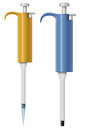 Automatic pipette pipettes with and without tip illustration on white Stock Photos