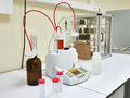 Automatic titrator in biochemical laboratory Royalty Free Stock Photo