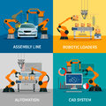 Automation concept icons set with assembly line and cad system symbols flat vector illustration Stock Photography