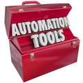 Automation tools toolbox modern technology efficiency productivi d letters form word in red metal to illustrate to help you Stock Photography
