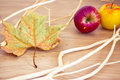 Automn details: branches, fallen leaf and apples Royalty Free Stock Images