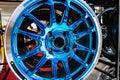 Automobile alloy wheels.
