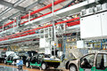 Automobile assembly shop panorama Stock Photo
