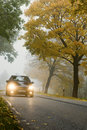 Automobile in autunno Immagine Stock