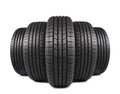 Automobile black rubber tires on white isolated background Royalty Free Stock Photos