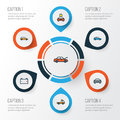 Automobile Colorful Outline Icons Set. Collection Of Electric, Automobile, Cabriolet And Other Elements. Also Includes