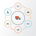 Automobile Colorful Outline Icons Set. Collection Of Level, Pickup, Cabriolet And Other Elements. Also Includes Symbols