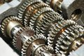 Automobile engine or transmission gear box close up of steel Royalty Free Stock Images