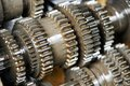 Automobile engine or transmission gear box close up of steel Stock Images