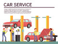 Automobile service and vehicle check vector background with car and mechanics in uniform